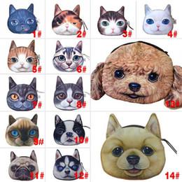Wholesale Kids Knit Purse - Cat Dog Pet Face Women Coin Wallet Purse Mini Bag Kids Coin Purse Pouch Women Wallets Coins Bags 14 Type
