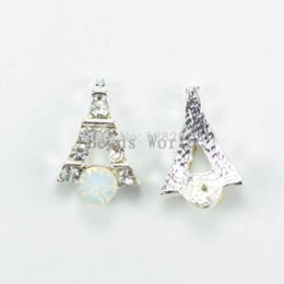 Wholesale Silver Alloy 3d Nail Art - 20 Pcs Alloy 3D Silver Plated Rhinestone Glitter Eiffel Tower Nail Sticker For Nail Tips Art Decoration DIY 10x7mm