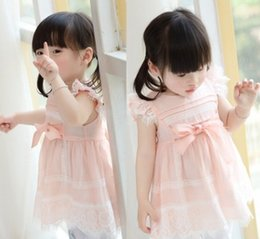 Wholesale Korean Baby Girl Summer Fashion - Korean Fashion Summer Baby Girls Flouncing Sleeve Dresses Cotton Toddler Lace Cover Bow Dress Children Girls Dress Clothing B4238
