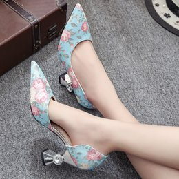 Wholesale Women White Pointy Shoes - Spring and Fall Fashion Women's High Heels Pumps Floral Glitter Hollow Out Sexy Pointy Toes Spool Heel Crystal Dectoration