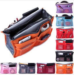 Wholesale Nylon Makeup Purse - Women Insert Handbag Organizer Purse Dual Bag In Bag Makeup Cosmetic Case Tidy Travel Storage Bags Sundry MP3 Mp4 Bags Pouch Tote B3320