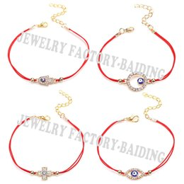 Wholesale String Cross Bracelets - Wholesale-2016 New Sideway Cross Karma Hamsa Evil Eye 4 Models Blue Eye Lucky Red String Gifts Bracelets