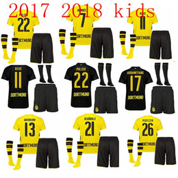 Wholesale Thailand Quality Soccer Jerseys Xxl - Thailand quality 2017 2018 Kids + socks Dortmund soccer jerseys 17 18 youth AUBAMEYANG GOTZE MOR REUS home away football jersey SAHIN child