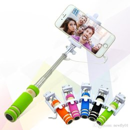 Wholesale Colors Mobile Android - factory mini cable selfie stick monopod camera and new model for take pictures for iphone samsung & android system mobile with 5 colors