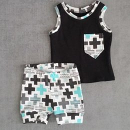 Wholesale Tank Tops Outfit Baby Boy - 2016 Summer Ins Baby Boys Clothing Set Kids Black Tank Tops Vest+ Shorts 2pcs Suit Toddlers Children Outfits