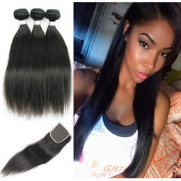 Wholesale Mongolian Remy Lace Frontal - 3 Bundles with Lace Closure Straight Mongolian Remy Hair Unprocessed Virgin Hair Body Wave Free Middle Three Part Closure