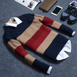 Wholesale Thick Winter Sweaters Men - Wholesale-Brand Clothing 2016 Autumn And Winter Men'S Round Neck Sweater Hedging Thick British Style Sweater Men M-2XL A99