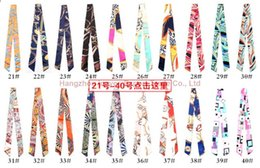 Wholesale Colorful Skull Scarf - Colorful Twilly Scarf Handbag Decoration Little Tie For Fashion Girl 117 Colors Mix Small Scarf Hair Bandanas