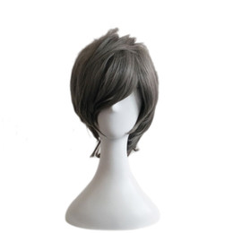 Wholesale Men Lace Wigs - WoodFestival anime cosplay wig men short grey wig heat resistant natural cheap hair wigs synthetic fiber harajuku wigs