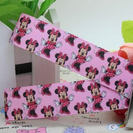 "Wholesale Dance Grosgrain Ribbon Printed - 7 8"" 22mm Cartoon Pink Dancing Minnie Mouse Printed Grosgrain Ribbon Hair DIY Craft Party Decos 50 100 Yards lot A2-22-1147"