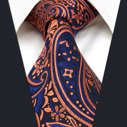 Wholesale Weave Knot - P18 Paisley Orange Navy Mens Neckties Ties Extra Long Size 100% Silk Jacquard Woven Brand New