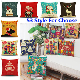 Wholesale Hotels Bear - 45*45cm Christmas Pillow Case Santa Claus Reindeer Owl Tree Elk Bear Cat Dog Printed Cushion Cover Home Car Decor Decoration WX9-72
