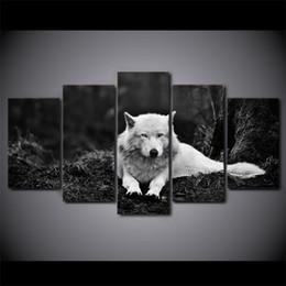 2019 фотографии волков 5 шт. / компл. Wolf Stare черный и белый холст картины Home Decor стены искусства в рамке плакаты HD печать картины живопись скидка фотографии волков