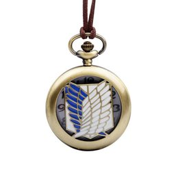 Wholesale Titan Watches Wholesale - SPEIKO Nacklace Watches Pocket Watches flipping-type pocket watches with the design of the ATTACK ON TITAN for birthday gift