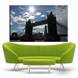 Wholesale Tower Canvas Art - ZZ1915 canvas fabric poster print London Tower Bridge for wall art room decor home decoration canvas paintings wall art unframed