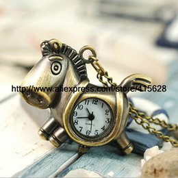 Wholesale Trojan Watches - 2015 New Arrivals,Fashion Vintage Bronze Trojan Horse Pocket Watch Necklace,Gift watch 100pcs lot Free Shipping