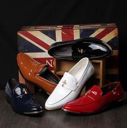 Wholesale Unique Leather Shoes - Fashion Men's Business shoes Bright Leather Mens Wedding Shoes Big Size Men Within the higher Shoes Unique men Dress Shoes 5 color