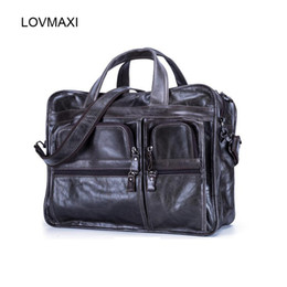 Wholesale Natural Leather Bags - Wholesale- LOVMAXI Natural leather Men's handbags causal crossbody bag Retro multi-function laptop bags business briefcase male