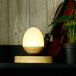 Wholesale Egg Turning - 2017 cute Free Shipping Hot Selling Magnetic Levitating Wooden Egg Shape Night Light Bluetooth Speaker With LED Lamp for home car office