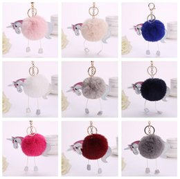 Wholesale Mix Resin Hair - Brand new Unicorn plush pony hair ball pendant cartoon PU leather key chain bag pendant KR351 Keychains mix order 20 pieces a lot