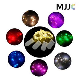 Wholesale Rgb Flashing Led - 2M 20LEDs CR2032 Button Battery Operated Mini Micro LED Lights String For Wedding Party Event decorations Silver Copper Wire