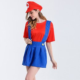 Wholesale Uniform Dress Wholesale - 4set Super Mario Costume Halloween Mario Cosplay Costume Women Sexy dresses Anime game uniforms Party Supplies