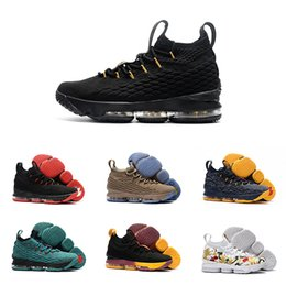 Wholesale Pink Canvas Sneakers High - 2017 AAA+ Quality Lebron 15 Basketball Shoes Lebron shoe Arrival LBJ Sneakers 15s High Cut Mens Casual Shoes James 15 size US 7-12
