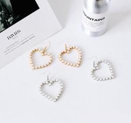 Wholesale Indian Sweets - 2017 new original soft cuteness sweet peach heart pearl earrings heart-shaped earrings girls' Retro geometric eardrop