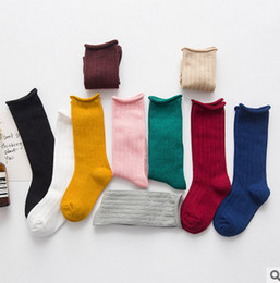 Wholesale Legging Stocking Kids - Children socks kids candy color stripe knitting socks baby breathable cotton sock leg fashion children stocking fit 1-10T T0218