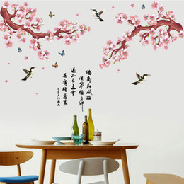 Wholesale Classic Chinese Wallpaper - Pink Peach Flowers Tree Branch Flying Birds Butterfly Chinese Poet Wall Stickers Living Room Bedroom Room Wall Decor Wallpaper Poster