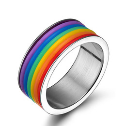 Wholesale Gifts For Gay Men - 2016 Men's Wedding Band Rings Titanium Steel Rainbow Rings gay pride jewelry for men and women