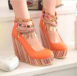 Wholesale Orange Wedge High Heels - New summer color beads Bohemia folk style super high-heeled wedge sandals shoes shoes soled platform