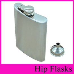 Wholesale Pocket Funnel - With Funnel Stainless Steel Hip Flask 4oz 5oz 6oz 7oz 8oz 10oz Pocket Hip Flasks Flagon Ounce Whisky Stoup Wine Pot Alcohol Bottle Wholesale