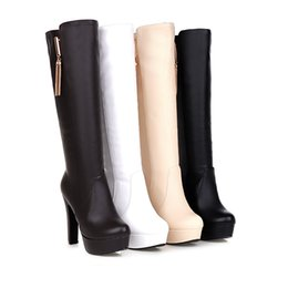 Wholesale Decorative Fashion Fabric - Autumn new elegant decorative metal thick with boots size 31-45 Long legs boots let warmth surround you Manufacturers selling Quality assura