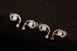 Wholesale European Charm Crystal Alphabet - 2016 Alloy Crystal Eye Shape Women Earrings Jewelry Free Shipping European Fashion Alloy Charm Earrings Party Birthday Gifts 202