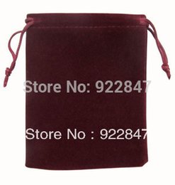Wholesale Customized Velvet Gift Bags - 100pcs Lot 9x12cm Wine Red Retail Jewelry Velvet Gift Packaging Bags & Pouches Can customized Logo Printing