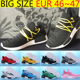 Wholesale Big Size Shoes Cheap - Cheap New Arrivals Orignal NMD Human Race Runner Sports mens Running Shoes Human Race knit upper sneakers Yellow 9 color Big Size EUR 36-47