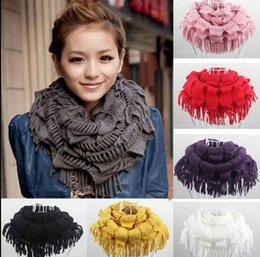 Wholesale Cable Rings - Women Warm Infinity Cable Knit Cowl Neck Long Tassel Scarf Shawl Knit Cowl Neck Tassel Scarf Shawl Winter Gift KKA2864