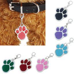 2019 acciaio inossidabile all'ingrosso inciso 10 pezzi Nuovo 6 colori Pet Jewelry Cat Dog Collar Pendant Tag Pawprint Puppy Identity Collana collare accessorio