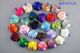 Wholesale Satin Rose Flower For Headband - 100pc lot Satin Ribbon Multilayers Fabric rose Flowers For headbands Kid Pure handmade DIY Hair Accessories