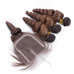 Wholesale 22 Chocolate Brown Extensions - 4*4 Swiss Lace Top Closure With 3pcs Hair Bundles 4pcs Lot #4 Chocolate Brown Loose Wave Curly Human Hair Extension With Closures Piece