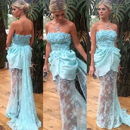 Wholesale Babies Ruffled Dresses - Baby Blue Lace See Through Prom Dresses 2017 Sexy Strapless Applique Ruffles Back Covered Buttons Evening Gowns Sweep Train Vestidos Dresse