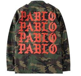Wholesale Red Military Jackets - Hot!! Jacket fAutumn suprean Season 3 Kanye West Pablo Camouflage Men Jacket Coat Army Green Hiphop Paul Streetwear Military Jacket