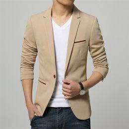 Wholesale Cheap Blazers Jackets - Plus Size 5XL 2016 Hot Sale Korean Style Khaki Linen Suit Blazer Men Suit Jacket Leisure Slim Fit Blazer Cheap Suits for Men