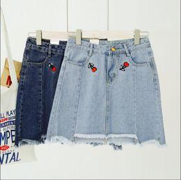 Wholesale Embroidery Denim Skirts - Korean cherry embroidery high waist denim skirt A word