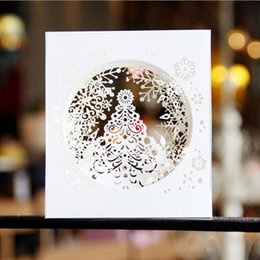 Wholesale Christmas Laser Cut Greeting Cards - (10 pieces lot)Free Shipping Laser Cut Wedding Party Invitations 3D Cubic Snowflake Box Design Pop UP Card Greeting Cards for Christmas Eve