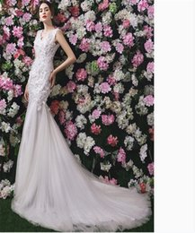 Wholesale Pearl Beads Online - Wedding Dresses Online Lace Appliques Beautiful Mermaid Wedding Gowns China V-neck Sweep Train Simple White Wedding Gowns Sexy Dresses