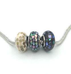 Wholesale Flat Abalone - JLN Multi Color 8*15 mm Abalone Shell Murano European Big Hole Beads Roundel Spacer For Jewelry Making DIY Charm Bracelet 0070