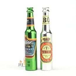 Wholesale Small Wholesale Pipe - 2016 Creative Smoking Accessories Mini Smoke Pipe metal Pipe Smoking Pipe Small Popular Beer bottles pattern style mixed