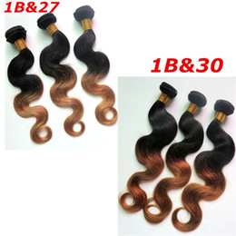 Wholesale Processed Peruvian Hair - Ombre Human Hair Extensions Brazilian Hair Bundles Body Wave Wefts Peruvian Indian Malaysian Mongolian Mink Ombre Human Hair Weaves